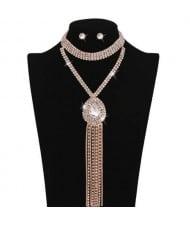 Shining Waterdrop Pendant with Long Chain Tassel Design High Fashion Women Choker Necklace and Earrings Set