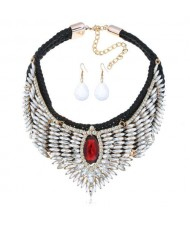 Rhinestone Embellished Wings Design Women High Fashion Costume Bib Necklace and Earrings Set
