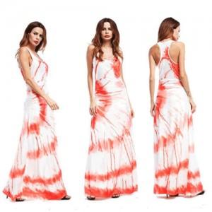 Lemon Cross Section Printing Summer High Fashion Women Long Dress - Orange