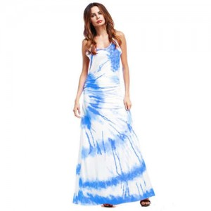 Lemon Cross Section Printing Summer High Fashion Women Long Dress - Blue