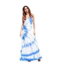 Lemon Cross Section Printing Summer High Fashion Women Long Dress - Blue