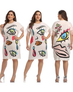 High Fashion Elements Printing Large Size Casual Style Women Short Dress