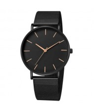 10 Colors Available Plain Index Extreme Basic Design Men Fashion Stainless Steel Wrist Watch