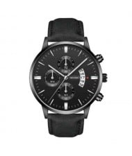 10 Colors Available Triple Index with Calendar Design Men Sport Fashion Leather Wrist Watch