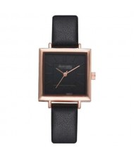 7 Colors Available Basic Pattern Square Shape Index Design Women Fashion Leather Wrist Watch