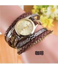 8 Colors Available Snake Skin Texture and Chain Mixed Fashion Design Women Bracelet Style Watch