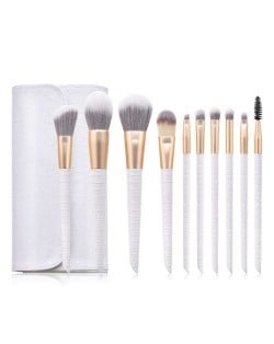 10 pcs Crocodile Scale Design Handle Short Fashion Makeup Brushes Bag Set - White