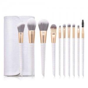 10 pcs Crocodile Scale Design Handle Short Fashion Makeup Brushes Bag Set - White