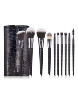 10 pcs Crocodile Scale Design Handle Short Fashion Makeup Brushes Bag Set - Black
