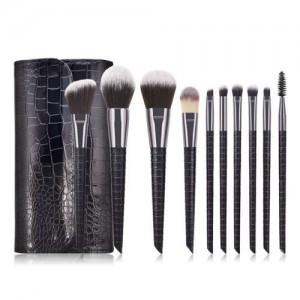 10 pcs Crocodile Scale Design Handle Short Fashion Makeup Brushes Bag Set - Black