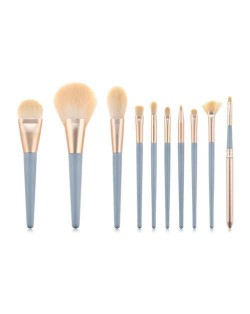 10 pcs Dark Blue Wooden Handle High Fashion Cosmetic Makeup Brushes Set
