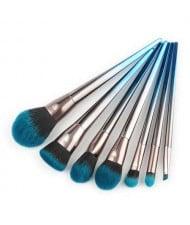 7 pcs Gradient Blue Fashion Aluminum Handle Cosmetic Makeup Brushes Set