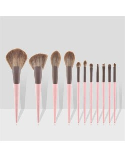 11 pcs Dual Colors Mix Design Handle Cosmetic Women Makeup Brushes Set - Pink
