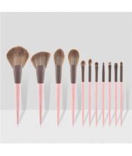 11 pcs Dual Colors Mix Design Handle Cosmetic Women Makeup Brushes Set - Pink