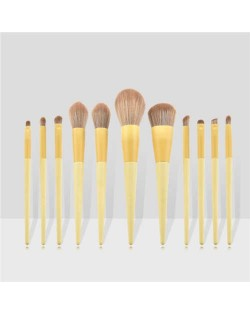 11 pcs Dual Colors Mix Design Handle Cosmetic Women Makeup Brushes Set - Yellow