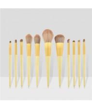 11 pcs Dual Colors Mix Design Handle Cosmetic Women Makeup Brushes Set - Yellow