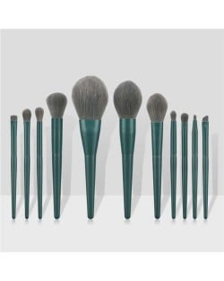 11 pcs Solid Color Wooden Handle Cosmetic Women Makeup Brushes Set - Ink Green