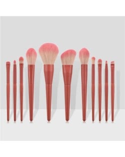 11 pcs Solid Color Wooden Handle Cosmetic Women Makeup Brushes Set - Coffee