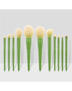 11 pcs Solid Color Wooden Handle Cosmetic Women Makeup Brushes Set - Grass Green