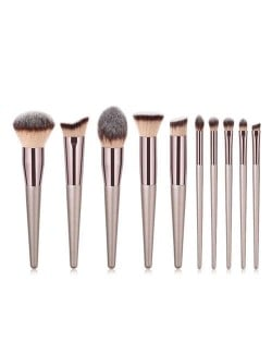 10 pcs Champagne Gold Premium Quality Wooden Handle Women Makeup Brushes Set