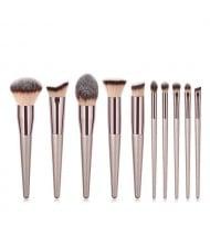 10 pcs Champagne Gold Premium Quality Wooden Handle Women Makeup Brushes Set