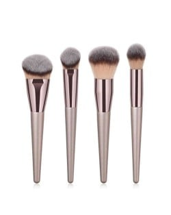 4 pcs Champagne Gold Premium Quality Wooden Handle Women Makeup Brushes Set