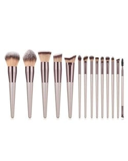 14 pcs Champagne Gold Premium Quality Wooden Handle Women Makeup Brushes Set