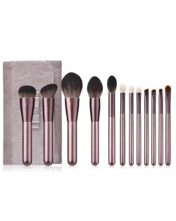 12 pcs Grape Color Aluminum Handle Cosmetic Makeup Brushes Bag Set