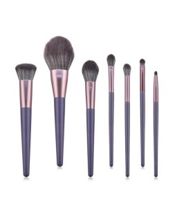 7 pcs Purple Color Wooden Handle High Fashion Women Cosmetic Makeup Brushes Set