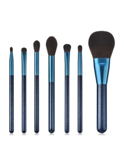 7 pcs Jewelry Blue Color Wooden Handle High Fashion Women Makeup Brushes Set