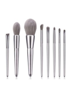 8 pcs Silver Color Wooden Handle High Fashion Women Cosmetic Makeup Brushes Set