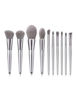 10 pcs Silver Color Wooden Handle High Fashion Women Cosmetic Makeup Brushes Set