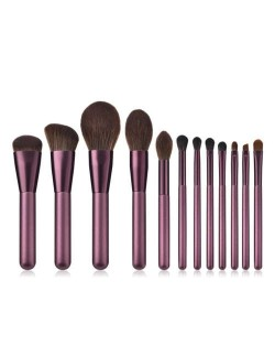 12 pcs Grape Color Wooden Handle High Fashion Women Cosmetic Makeup Brushes Set