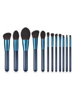 12 pcs Jewelry Blue Color Wooden Handle High Fashion Women Cosmetic Makeup Brushes Set