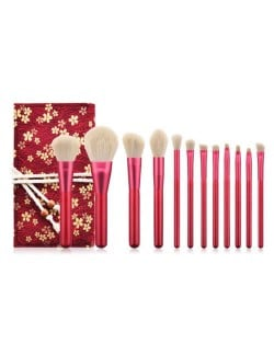 12 pcs Ruby Color Wooden Handle High Fashion Women Cosmetic Makeup Brushes Bag Set