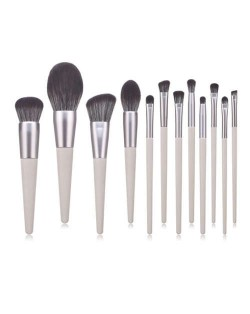 12 pcs Gray Color Wooden Cone-shape Handle High Fashion Women Cosmetic Makeup Brushes Set