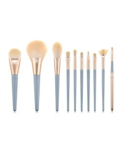10 pcs Grayish Blue Wooden Handle High Fashion Fan-shape Cosmetic Makeup Brushes Set