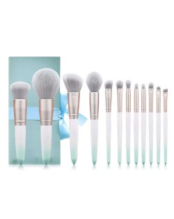 12 pcs Gradient Green Matting Texture Handle High Fashion Women Cosmetic Makeup Brushes Gift Bag Set