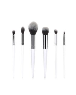 6 pcs White Wooden Handle Premium Style Fashion Women Cosmetic Makeup Brushes Set