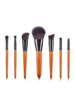 7 pcs Orange Color Short Wooden Handle High Fashion Women Cosmetic Makeup Brushes Set