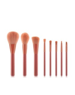 8 pcs Pinky Fashion Short Wooden Handle Premium Fashion Women Cosmetic Makeup Brushes Set