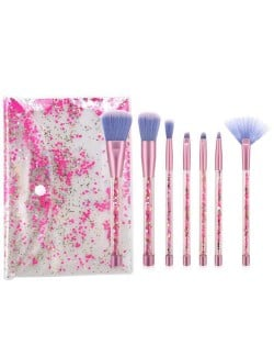 7 pcs Sequin Particles Decorated Handle High Fashion Women Cosmetic Makeup Brushes Set