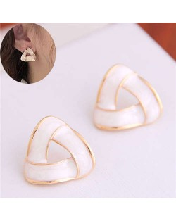 Elegant Korean Fashion Revolving Pattern Design Alloy Women Earrings