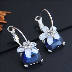 Flower Attached Ink Blue Gem Pendant Korean Fashion Women Ear Clips