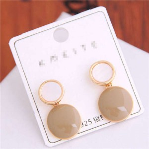 Korean Fashion Oil-spot Glaze Round Dangling Women Alloy Costume Earrings - Khaki