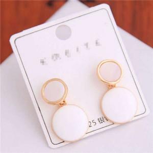 Korean Fashion Oil-spot Glaze Round Dangling Women Alloy Costume Earrings - White