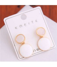 Korean Fashion Oil-spot Glaze Round Dangling Women Alloy Costume Earrings - White