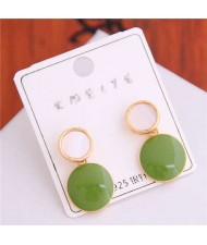 Korean Fashion Oil-spot Glaze Round Dangling Women Alloy Costume Earrings - Green
