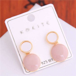 Korean Fashion Oil-spot Glaze Round Dangling Women Alloy Costume Earrings - Pink