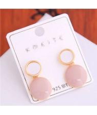 Korean Fashion Oil-spot Glaze Round Dangling Women Alloy Costume Earrings - Pink